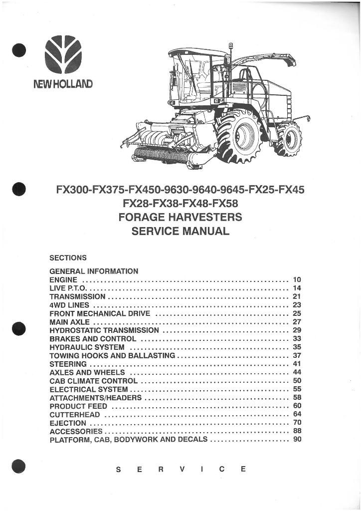 new holland forage harvester fx28 fx38 fx48 fx58 fx300 fx375 fx450 rh agrimanuals com new holland fx 375 specifications New Holland Manuals S185